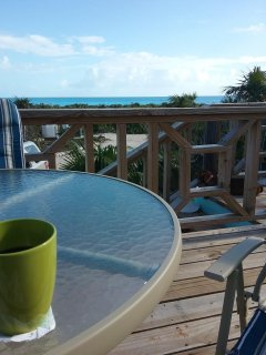 Enjoy your morning coffee on the deck with the beautiful view of the ocean.