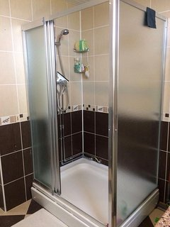 Large modern shower.