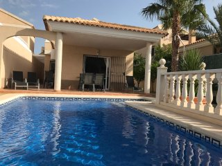 Cosy 3 bed villa with own pool, backing on to mountains and 2 mins from beach!