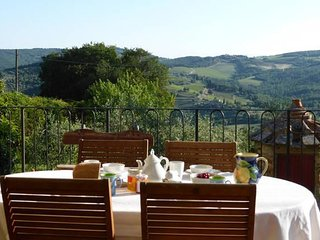 Outside dining with a view of the Chianti Classico landscape
