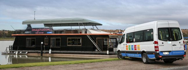Imagination houseboat with 12 seater bus on request