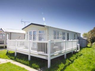 8 berth caravan at Broadland Sands Holiday Park. In Lowesoft, Norfolk. REF 20213