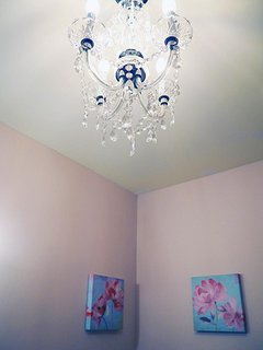Yes, why not a chandelier in the bathroom?!