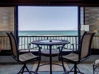 Oceanfront rental with panoramic views, resort pool, & hot tub!