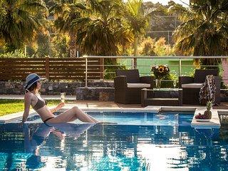 Villa Crete eu with stunning sea view and private heated pool near sandy beach