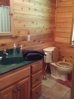 First floor bathroom with brand-new fixtures and heated vent-fan