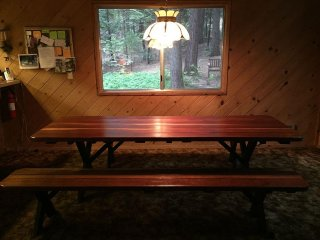 Our oversize heirloom old growth redwood picnic table seats 12+ people.