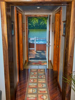 Hallway leading the the deck and hot tub