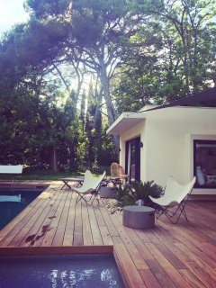 Terrasse extérieure et arbres centenaires