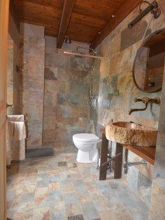 Italian tile and walk in shower