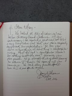 Guest book with note from happy Guests.