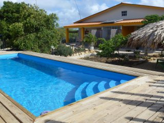 Sunny and colorful holiday home with pool, palmpalapa and porch.