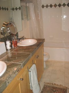 Bathroom with two sinks, tub and shower
