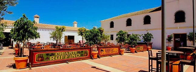 Hacienda Square in summer for outside dining