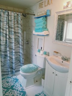 Clean luxurious bathroom with walk-in shower