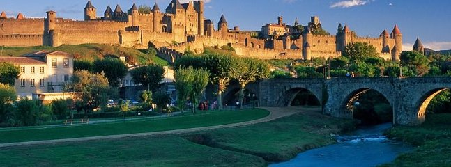 The World Heritage site of the medieval city of Carcassonne, 35 minutes drive away
