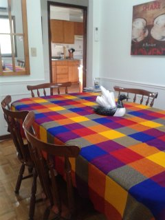 Dinning room table seats 4 - 8 comfortably