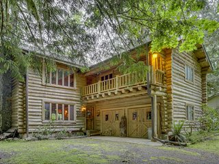 Dog-friendly log home w/ wood fireplace, private hot tub, & great outdoor space!