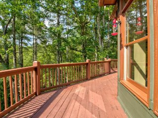 Secluded forest home w/ private hot tub, decks & shared pool/tennis - 2 dogs OK!
