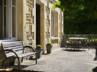 Terrace overlooking Petanque court with additional dining options for those who prefer the sunshine