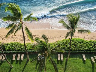 View down off lanai to beach.