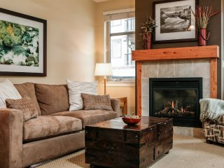 Heat your feet by the open flame fireplace