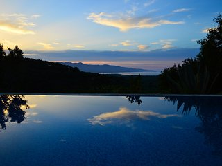 Infinity private pool at sunset/night time