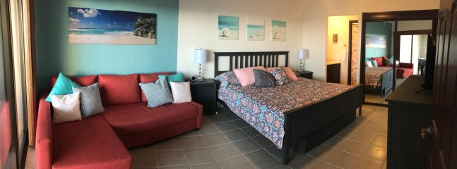 Master bedroom has its own TV, private full bathroom and king size bed and comfortable seating area.