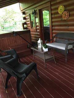 Back deck and hot tub.