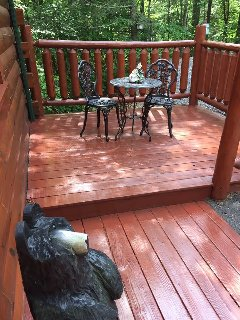 Our little bistro set on the front deck to take in all of nature's beauty.