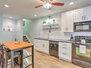 The generous kitchen features full-sized appliances.