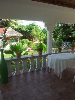 Blick von der Veranda in den Garten