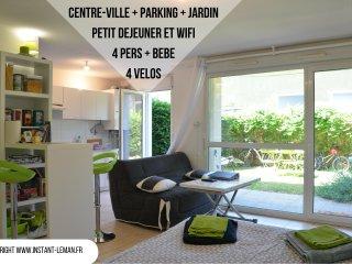 Instant-Leman I - Studio surequipe - centre-ville + jardin + velos + parking
