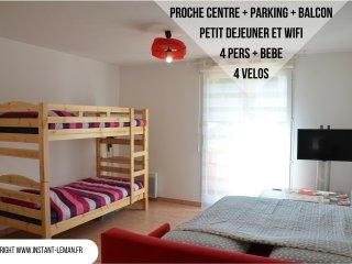 Instant-Léman II - Studio suréquipé - proche centre + vélos + parking privé
