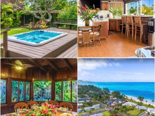 House & Cottage~ Sleeps 12~Waterfall~Tropical Paradise~Hot Tub~Steps to Beach!