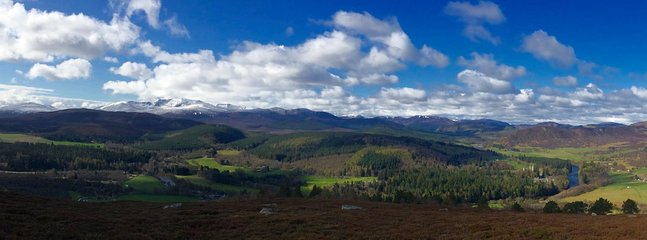 The amazing local scenery, Lochnagar is snow capped in the background, a few miles from the cottage