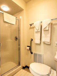 Clean off in the walk-in shower after an active day outdoors.