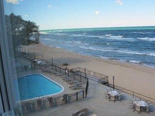 Lake Michigan's Premier 2BR Beachfront Lake Facing Corner & Top Floor Condo