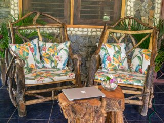 Chalet 4 : terrace rustic armchairs, for relaxing use of wifi
