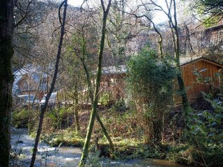 RIVERSIDE LODGE log cabin, woodland and riverside location, near Slapton, Ref