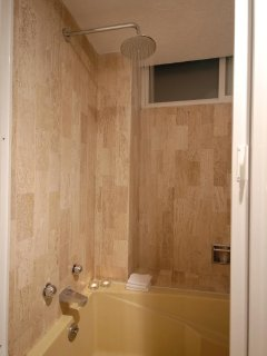 Take a quick shower or a luxurious bath in our bathtub