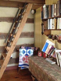 Stairs to sleeping loft.
