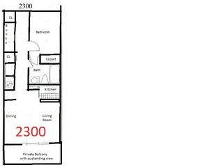 This is the floor plan of a bay front that is bigger than a bay view. 5 closets.