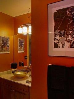 Upstairs bath, shower/tub, shared if needed.