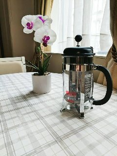 Enjoy some coffee ( french press cafetiere and ground coffee provided)