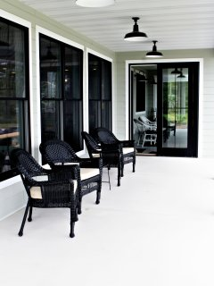 lakeside cover porch, beautiful views, comfortable seating