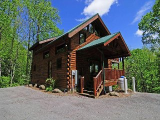 Privacy galore at this 3 bedroom/3 1/2 bath log home close to everything