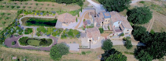 An aerial view showing the position of the three gîtes