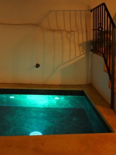 Illuminated pool with shadows