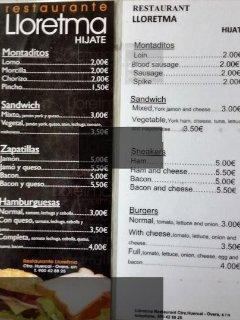Typical local bar menu